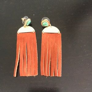 Free People Leather Fringe Earrings